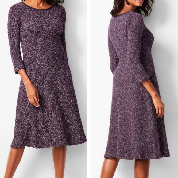 Talbots Fit & Flare Dress Tweed Boucle Style NWT